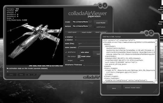 Screenshot of Collada Application